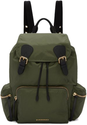 Burberry: Green Nylon Backpack | SSENSE