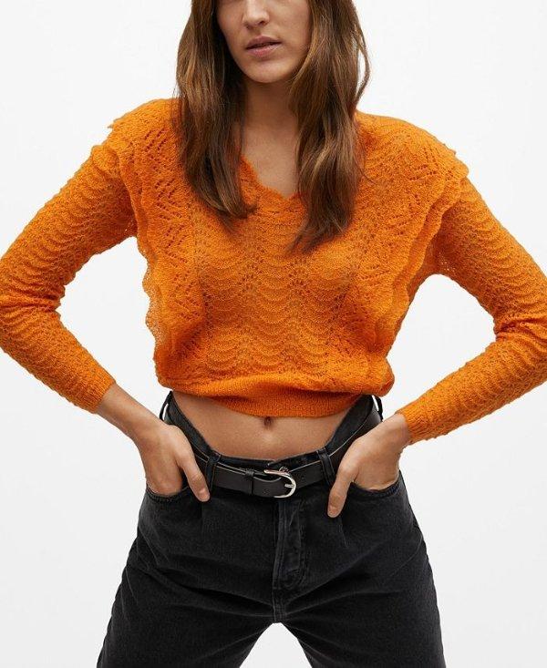 橘色针织衫