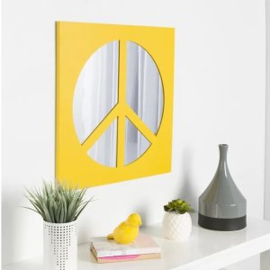 Zoomie KidsEaling Peace Sign Icon Square Wall Accent Mirror
