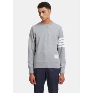 Thom BrowneMen's 4 Bar Crew Neck Sweater in Grey