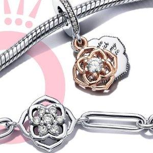 精选7.2折起 送给最爱的麻麻Pandora 母亲节优惠 玫瑰项链耳钉礼盒$109 手链$109