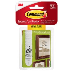 $5Command Picture & Frame Hanging Strips Value Pack, Large, White, 12-Pairs (17206-12ES)