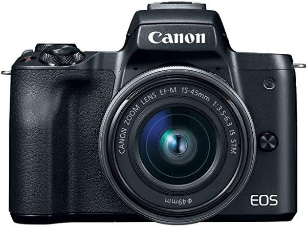 EOS M50 Single Digital Camera Kit with EF-M 15-45mm IS STM, Camera Assist, Black