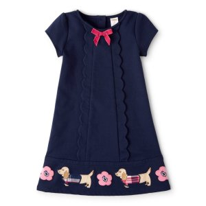 GymboreeGirls Short Sleeve Embroidered Floral And Dog Scalloped Ponte Knit Dress - Preppy Puppy