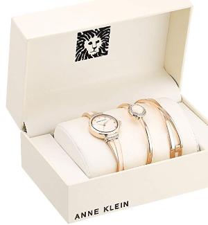 $67.13 (原价$175)+包邮Anne Klein 施华洛世奇水晶超美腕表3件套热卖 两色可选