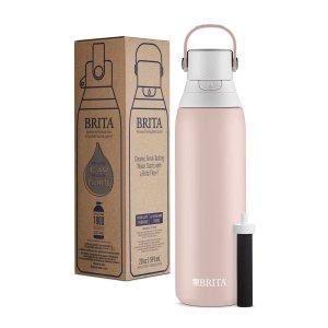 Brita Stainless Steel Water Filter Bottle, 20 oz, Rose