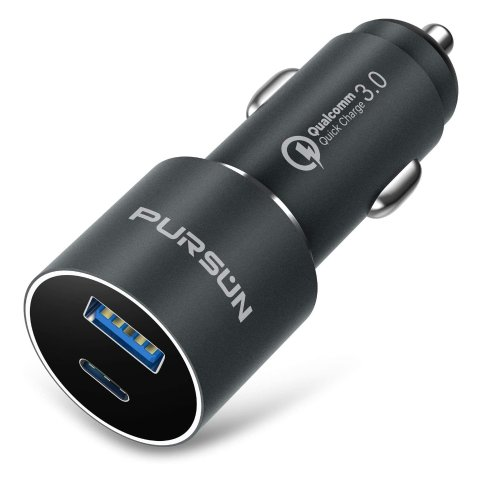 USB Car Charger with Blue LED, QC 3.0 Technology