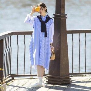 Maison Kitsune100%棉条纹衬衫裙