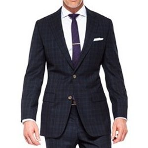 Men's Custom Suits - Midnight Teal Check Blue Suit | INDOCHINO