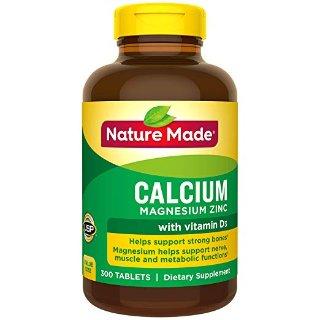 $4.9(原价$11.89) 包邮Nature Made 钙片 含镁锌维他命D3 300粒