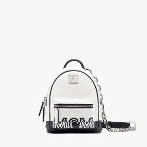 MCMMini Crossbody Backpack in Contrast Logo Leather