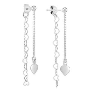 Double Sided Threader Post Heart Earrings in .925 Sterling Silver