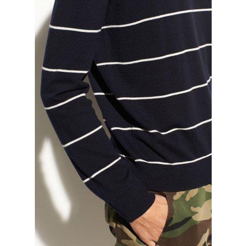 Striped Textured Merino Wool Crew