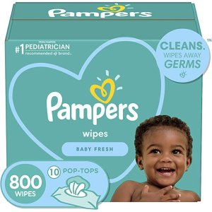 PampersSave $15 when you buy $75, Baby Diaper Wipes, Baby Fresh Scent, 10X Pop-Top Packs, 800 Count