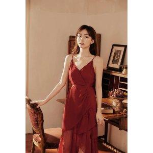 Ecru Emissary红酒色吊带裙 含外搭披肩