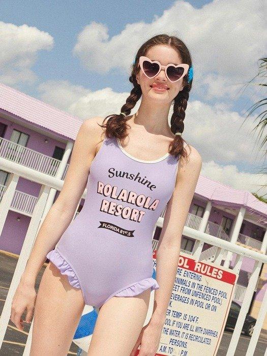 紫色连体泳衣