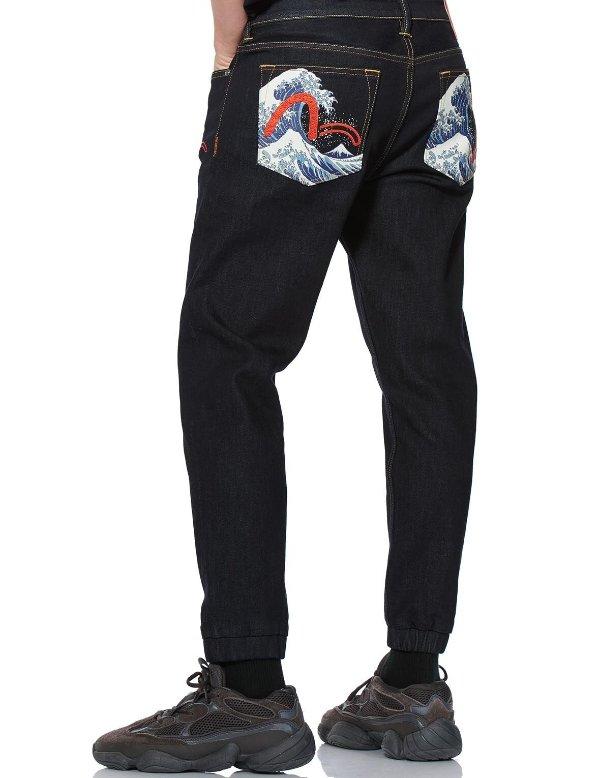 口袋浮世绘海鸥标牛仔裤