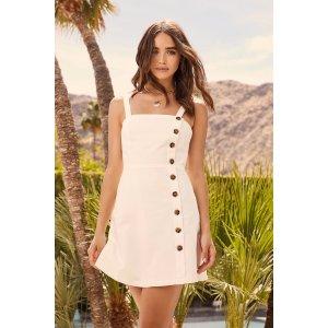 Louetta White Button-Down Mini Dress