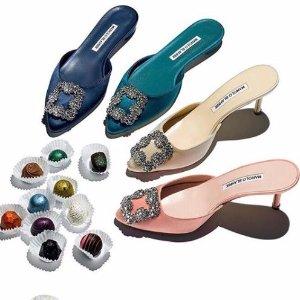 低至6折 入经典钻扣,BB高跟Manolo Blahnik 女士超美平跟,中跟高跟鞋履