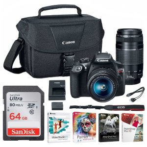 $449Canon EOS Rebel T6 DSLR Camera with 18-55mm and 75-300mm Lenses and Bag + 64GB Memory Card and Software Bundle