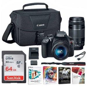 还送包和64G卡 仅需$449(原价$749)Canon EOS Rebel T6+18-55mm+75-300mm双镜头套机