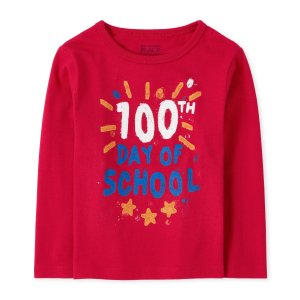 The Children's PlaceBaby And Toddler Boys Long Sleeve '100th Day Of School' Graphic Tee