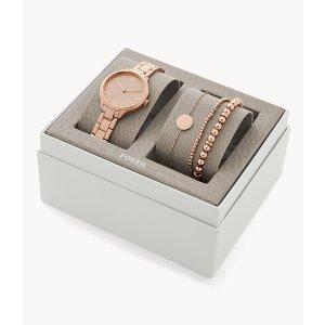 Fossil玫瑰金手表手链礼盒