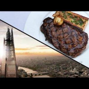 低至5.3折 现价£69.7(原价£178.5)London Steakhouse Co. 双人牛排套餐 观碎片大厦风景