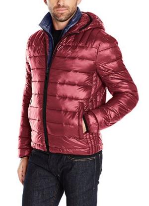 白菜价 $46.93(原价$193.99)Tommy Hilfiger 男士超轻保暖亮皮棉服 - 红色大号