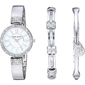 6.6折 $77.41(原价$117.47)Anne Klein 女士施华洛世奇水晶手镯腕表套装