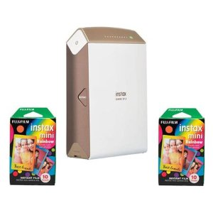 $89.99 w/2x Instax Mini Rainbow FilmFujifilm instax SHARE SP-2 Smartphone Printer Gold