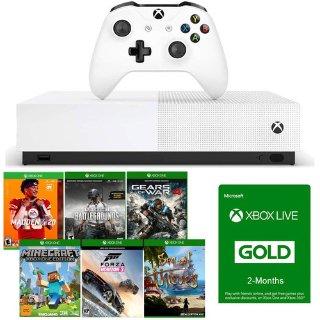 $229.99 (原价$329.99)Xbox One S 无光驱版 + 6款数字版游戏 + 4个月金会员