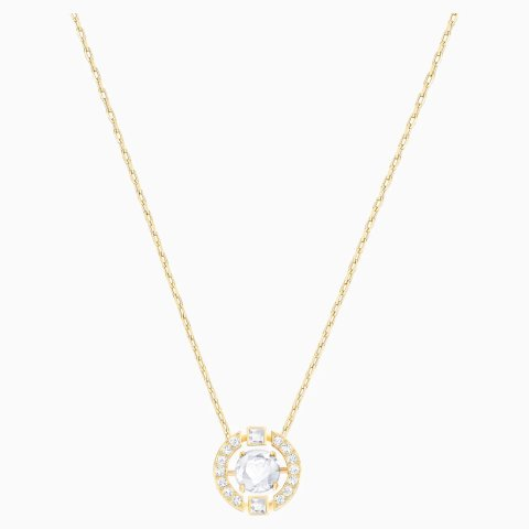Sparkling Dance Round Necklace, White, Gold-tone plated by