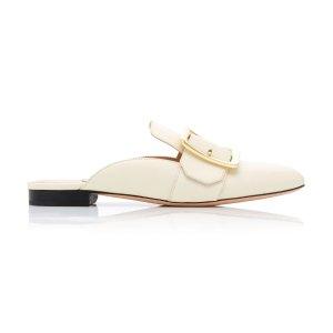 Bally白色方扣穆勒鞋