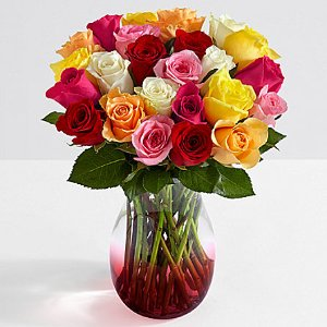 $15.97Two Dozen Colorful Roses with Red Ombre Vase