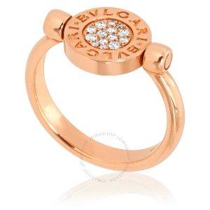 Bvlgari热卖18K玫瑰金镶钻珍珠戒