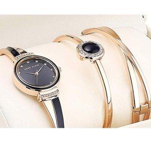 $75.8 (原价$100.19)史低价:Anne Klein 施华洛世奇水晶装饰手镯表套装