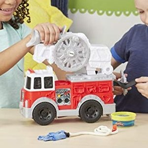 Amazon Play-Doh Wheels Firetruck Toy with 5 Non-Toxic Colors Including Play-Doh Water Compound
