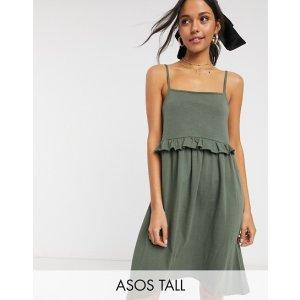 橄榄绿吊带连衣裙