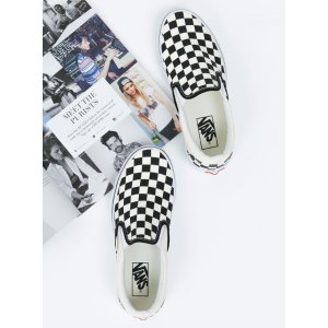 Vans Checker Classic Slip On 黑白格子帆布鞋