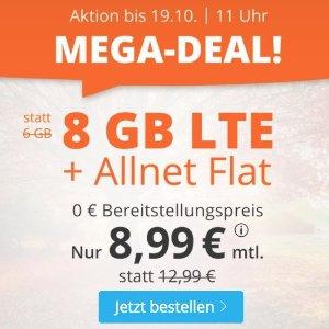 月租仅€8.99 免除€19.99接通费立省€140!每月8GB包月上网+德国免费电话/短信