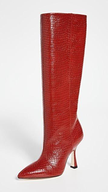 Parton红棕色及跟靴
