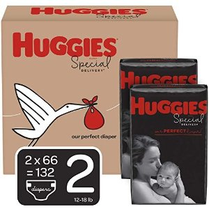 HuggiesSpecial Delivery Hypoallergenic Baby Diapers, Size 2 (12-18 lbs.), 132 Count, Economy Plus Pack