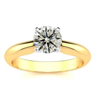 SuperJeweler1ct Round Diamond Solitaire Ring in 14k Yellow Gold. Incredible Value For A 1 Carat Natual, Earth-Mined Diamond Solitaire Ring