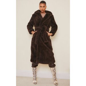 PrettyLittleThingBrown Long Teddy Faux Fur Belted Coat