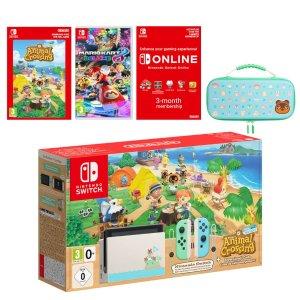 Nintendo动森限定机+豪华保护壳+电子游戏版+马车8+3个月会员