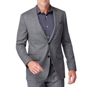 Charcoal Micro Houndstooth Windowpane Suit