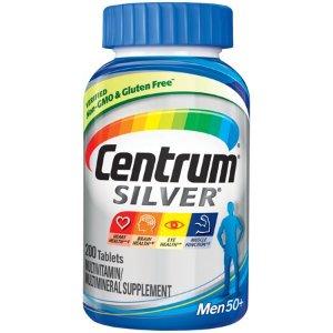 Centrum Silver Men (200 Count) Complete Multivitamin / Multimineral Supplement Tablet, Vitamin D3, B Vitamins, Zinc, Age 50+ - Walmart.com