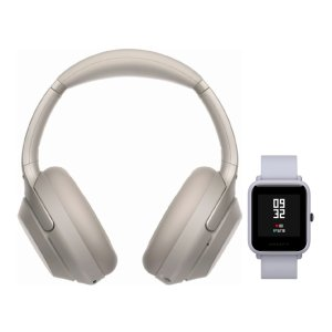 SonyWH-1000XM3 Wireless Headphones (Silver) with Amazfit Bip (White Cloud)