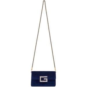Gucci- Blue Small Velvet Broadway Bag